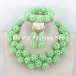 light green jewelry sets NZ - 2018 light green African Costume Jewelry Set High Quality Crystal Beads Balls Jewelry Set Necklace Bracelet and Earring Set