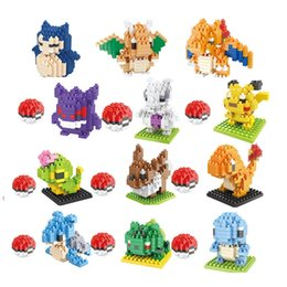 Discount plastic building bricks figures - New 13 style Figure Minifigure Building Blocks DIY Pikachu Squirtle Model Toys Miniature Diamond Brick children Toys B04