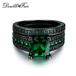 Vintage Green Jewelry Sets NZ - Black Gold Plated Imitation Gemstone CZ Diamond Vintage Ring Set For Women & Men Christmas Green Crystal Fashion Jewelry Wholesale DFR689