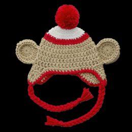 Monkey Halloween Costumes Canada - Adorable Monkey Hat,Handmade Knit Crochet Baby Boy Girl Animal Pompom Beanie,Kids Halloween Costume,Infant Newborn Photo Prop
