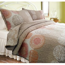 unique king beds Canada - unique Brown embroidery quilting quilts KING size fashion Bed cover cotton coolling bedspread 3pcs bedding sets luxury quilts piilow case