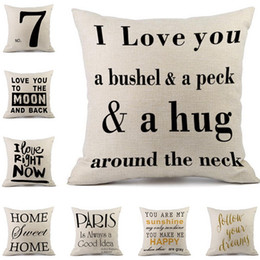 english style home decor 2019 - Coushion Cover Hot European and American Style Fashion English Letters Home Cotton Linen Simple Nordic Cushion Sofa Pill