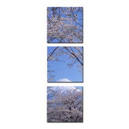 Cherry Blossom Picture Canada - Canvas Print Wall Art 3 panel Painting For Home Decor Peak Of Mount Fuji With Cherry Blossom Sakura In Blue Sky View From Lake Kawaguchiko