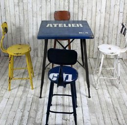 Retro Do The Old Wrought Iron Bars Table And Chairs Combination Dinette  Office Stool Tall Stools