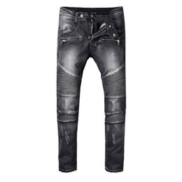 China SS18 Skinny Slim Fit Washed Coating material Luxury Denim Elastic Motorcycle Men BM8801 Jeans Designer Splash ink Men Jeans SZ28-40 cheap plus size coated jeans suppliers
