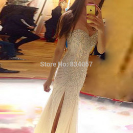 Barato Novo Vestido Sexy Do Querido-Sexy Sweetheart Side Split Prom Dresses com Stunning Beading 2017 New Zipper Back Mermaid Long Evening Gowns vestidos de Noiva