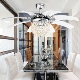 Invisible Crystal Light Ceiling Fans Modern LED Parlor Remote Control 42 Inch 220V 110V