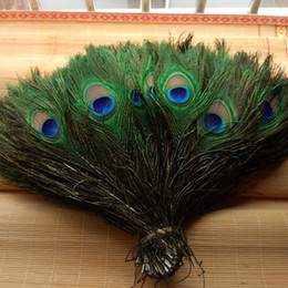 "peacock decorative Canada - Natural Peacock Feather 10-12"" Big Eye Elegant Decorative Materials Real Peacock Feather Beautiful Feathers 200pcs Lot E678L"