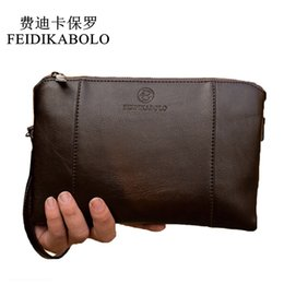 China FEIDIKABO Luxury Wallets Handy Bags Male Leather Purse Men's Clutch Black Brown Business Carteras Mujer Wallets Men Dollar Price suppliers