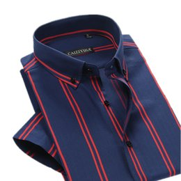 $enCountryForm.capitalKeyWord Canada - Wholesale-Brand British Style Double Striped Shirt Men Short Sleeve Casual Cotton Fashion Formal Business Party Male Summer Shirt 4XL
