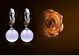 Wholesale Gift Prices Canada - 10pcs lot Babysbreath 925 Sterling Silver Opal Earrings Not fade Designed for elegant Women pearl Jewelry Gift box,Factory price sale