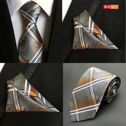 24deabf1ff86 Stripe Neck tie+Pocket square sets 64 colors jacquard Neckties Printing Handkerchief  tie For Men's marry Father's day Christmas gifts