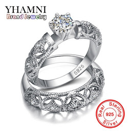 925 D Ring NZ - YHAMNI Fine Jewelry Wedding Rings for Women Have S925 Logo Real 925 Silver Ring Set 1 ct Diamond Engagement Ring Wholesale MR150
