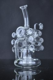 Types Violins NZ - Creative Unique liquid glass water pipes glass bubbler glass bongs Violin Recycler with tyre perc 14 mm female joint