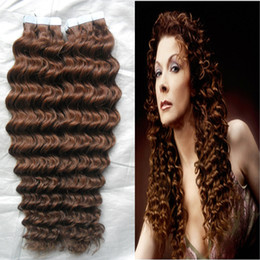 "tape human hair extensions 22 inch NZ - 10-28"" Tape Hair Extensions Virgin 100G Human Tape In Hair Extension Skin Weft PU Extension Remy 30 Auburn Brown Curly Tape Hair"