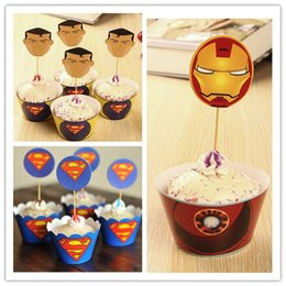 $enCountryForm.capitalKeyWord Canada - Party Decoration 24PCS lot Superman theme cupcake wrappers and toppers for Kids Birthday Christmas Decorations Supplies