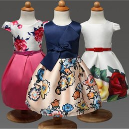 Arcos De Los Niños Baratos-2016 Summer Girls Retro Print Waist Bow Puff Princess Dress Vestido de los niños Vestidos Sweet Cotton Baby Girl Dresses