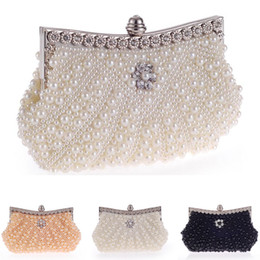 Lady Handbags Handmade Canada - Stunning Handmade Heavy Pearl Beaded Bridal Hand Bag Lady Clutch Wedding Prom Cocktail Party Evening Handbag White Black Light Champagne