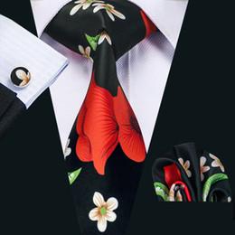 Black Green Tie Canada - New Style Mens Printed Ties Red White Flower Pattern Floral Black Business Wedding Silk Tie Set Include Tie Cufflinks Hankerchief N-1256