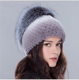 Elastic Beanie Hat Canada - Winter fur hats for women rex rabbit fur hat with rose flowers and silver fox fur top elastic knit beanies 2016 Russian fur cap