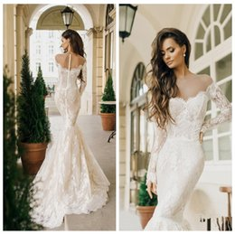 Long Sleeves Sheer Shoulder Mermaid Wedding Dresses Full Lace Bridal Gowns 2016 Beautiful Fishtail Vestidos De Novia