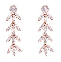 $enCountryForm.capitalKeyWord Canada - Earrings Jewelry Fashion Women Luxury High Quality Zircon 18K Gold Plated Leaves Dangle Chandelier Earrings Wholesale TER024