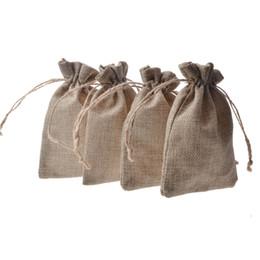 Двойной слой натурального льна Drawstring сумки джута подарочный пакет свадьбы пользу держатель мешковины мешковины мешковины мешки мобильного питания мешок мешки