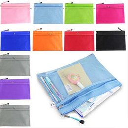 Plastic A4 Files Bag Canada - 5pcs lot Raibow Color Gridding Document Bag With Zipper Free Shipping Multilayers Zipper Filing Products A4 Folder For Papers Papelaria