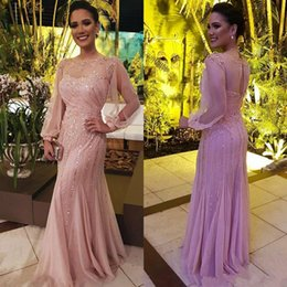 shiny beaded long prom dress 2019 - Shiny Sequined Mermaid Dresses Party Evening With Long Sleeves Sheer Bateau Neck Bead Prom Gowns Floor Length Blush New