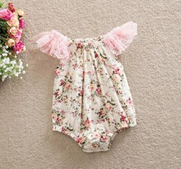 Maillot De Dentelle À Vendre Pas Cher-Europe 2016 Hot Sale Baby One Piece Romper Infant Lace Romper Baby Fountain Combinaisons Vêtements pour enfants Vêtements pour enfants Beige / Blue A115BF