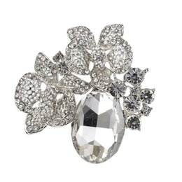 china flower brooches UK - 2.2 Inch Beautiful Diamante Flower and Big Glass Crystal Wedding Brooch