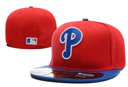 China Phillies On Field Style Baseball Fitted Hats Red Color Letter lowercase p Symbol Embroidery Sport Team Full Closed Caps cheap spring p suppliers