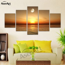 wall beds more 2018 - Canvas Painting 5 Pieces Wall Art Pictures Sea Sunset Scenery for Bed Room Decoration with Frame Ready to Hang Dropshipp