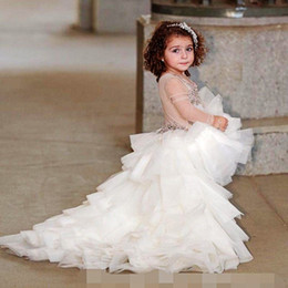 Discount lace layered flower girl dresses - High Low Illusion Long Sleeves Girls Pageant Dresses Jewel Beading Sequins Layered Tulle Flower Girls Dress Children Lov