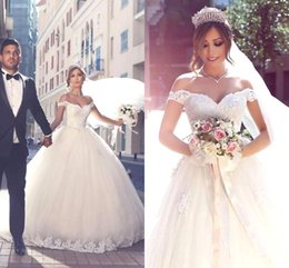 Wholesale wedding dress sayings for sale - Group buy Vintage Lace Appliques Off the Shoulder Wedding Dresses Tulle Custom Made Long Bridal Ball Gowns Backless Plus Size Said Mhamad BA3477