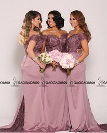 Dubai Nue Pas Cher-Nude Lavender Lace Stain Off-épaule Long Mermaid Beach Robes de demoiselle d'honneur 2016 Dubai style arabe Cheap Wedding Party Guest Dress