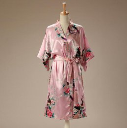 Women Kimono Bath Robe Canada - Wholesale- Pink Chinese Ladies  Satin Bath  Robe Women e2ec7e5ae