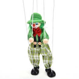 toy clown UK - Funny Vintage Colorful Pull String Puppet Clown Wooden Marionette Handcraft Toys Joint Activity Doll Kids Children Gifts