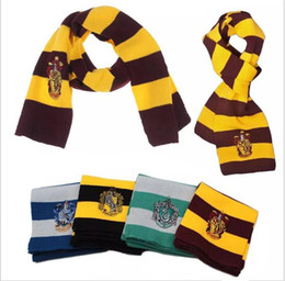 Trajes de Halloween Colégio Cachecol 4 Estilos Harry Potter Gryffindor Série Cachecol Com Crachá Cosplay Malha Lenços