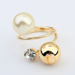 Vintage black pearl ring online shopping - Pearl Ball Crystal Twisted Ring Vintage Punk Gold Double Ring For Women Girl Fashion Finger Jewelry