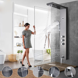 StainleSS panel online shopping - Shower PanelsThermostatic Shower Panel Rain Waterfall Shower Head Massage Jet Three Handles Mixer Tap Bath Faucets