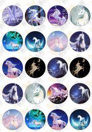 $enCountryForm.capitalKeyWord Australia - BoYuTe (20 pieces lot) 20mm Round Pattern Cabochon Mix Horse Unicorn Kawaii Image Glass Cabochon Blank Pendant Cover xl6505