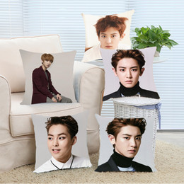 Handsome Boys Hot Canada - Wholesale- Pillow Case Hot Fashion Popular EXO Chanyeol Handsome Boy Customize Durable Throw Pillow Covers for Bed Hotel Best Gift for EXO