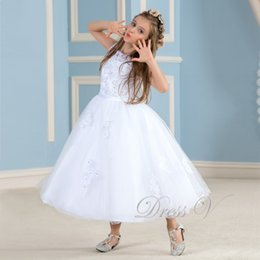 $enCountryForm.capitalKeyWord Canada - 2019 Lovely White Flower Girl Dresses To First Communion Lace Applique Ivory Dress Girls Pageant Baby Party Gowns Kids Frock Designs