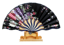 Artisanat De Bambou Chinois Pas Cher-2016 Été Hot Classic Tough Silk Pretty Flowered Chinese Craft Handheld Folding Hand Fan Style Printed Bamboo Keel Fans