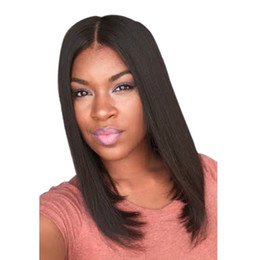 straight bangs wig UK - WoodFestival medium length black wig 38cm synthetic wigs for black women good quality straight synthetic hair wigs none bangs fiber wigs