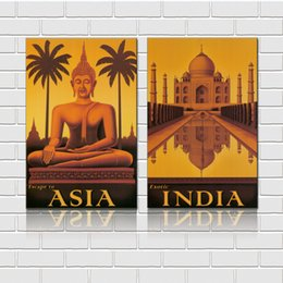 art canvas prints Australia - Unframed 2 Pieces art picture free shipping Canvas Prints India Buddha tree house City Street potted flower Seaside town windowsill
