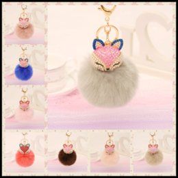 Barato Raposa De Coelho Artificial-2017 New Rhinestones Fox Artificial Fluffy Fox Rabbit Fur Ball Chaveiro 21 Styles Keychain Bag Car Hanging Pendant