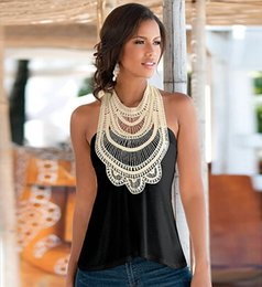 Cotton T Shirts Lace Canada - Summer Hot Style Black Apricot Lace Patchwork Sleeveless Tanks Tops Fashion Women's T-shirt