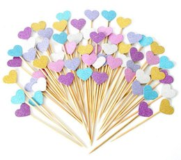 CupCakes deCorative online shopping - Handmade Lovely Heart Cupcake Toppers Girl baby shower decorations Party Supplies Birthday Wedding Party Decoration